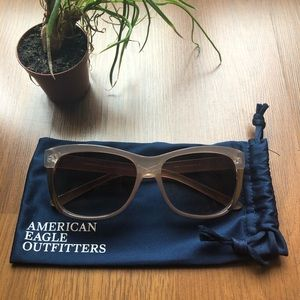AEO Clear Peach and Gold Sunglasses and Pouch